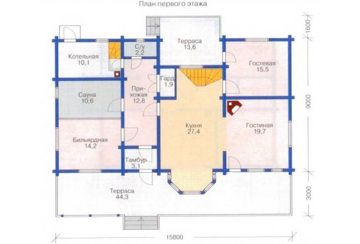 План N1 проекта каркасного дома АСД-1411