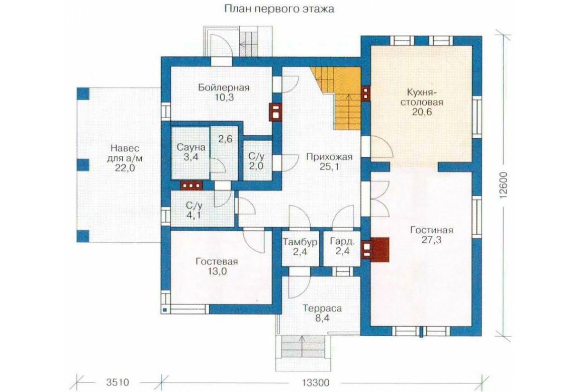 План N1 проекта каркасного дома АСД-1412
