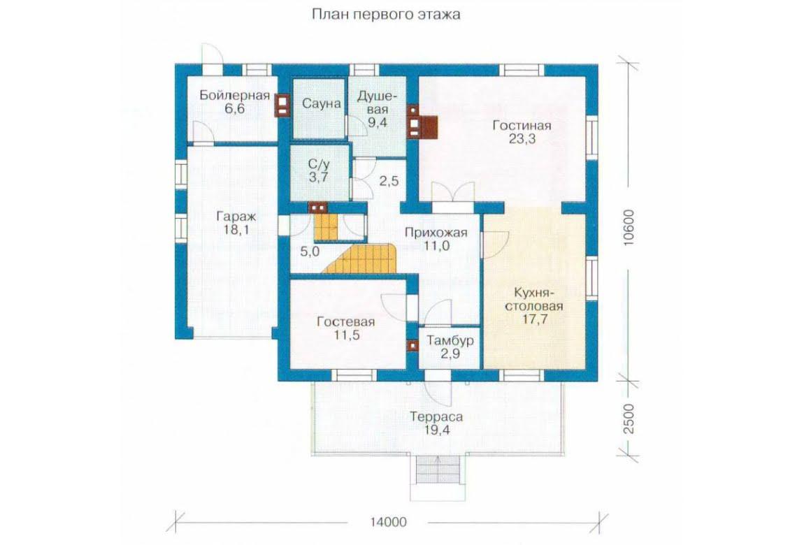 План N1 проекта каркасного дома АСД-1413