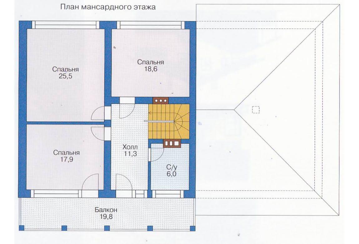 План N1 проекта каркасного дома АСД-1414