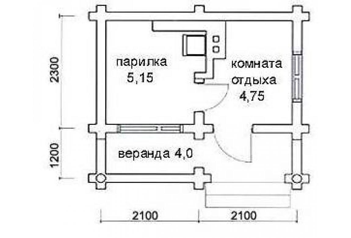 План N1 проекта бани АСД-1416