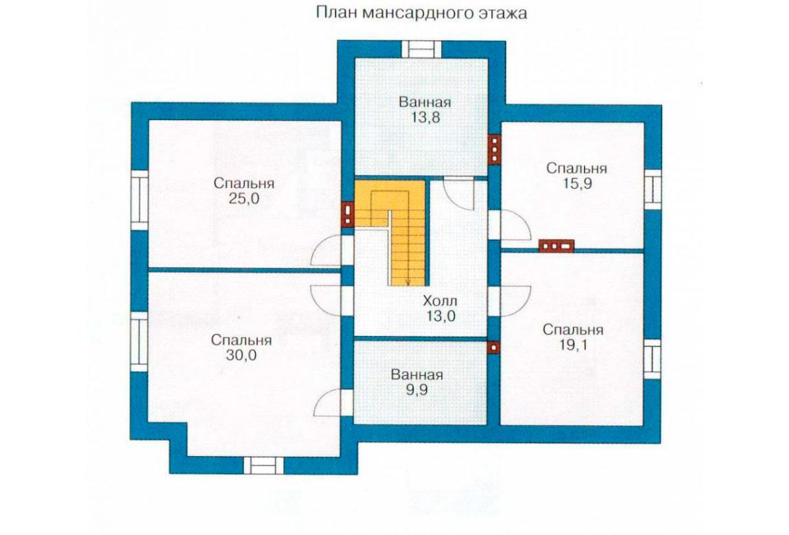 План N1 проекта кирпичного дома АСД-1042