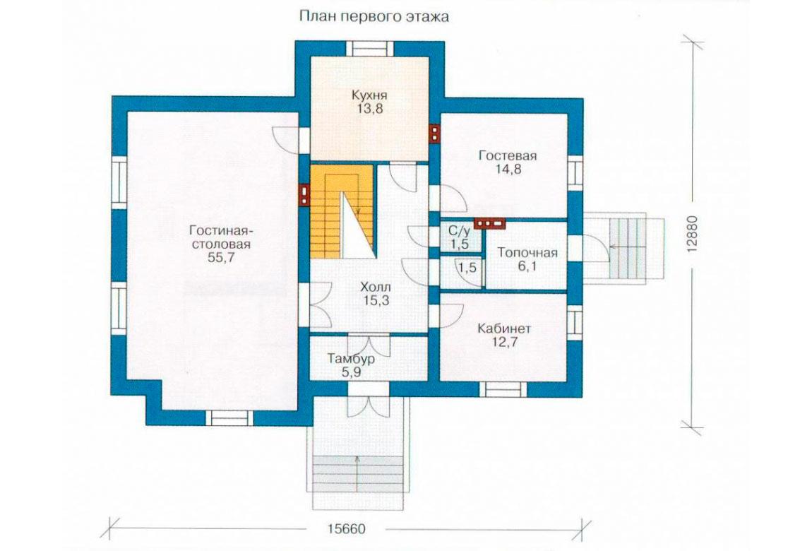 План N2 проекта кирпичного дома АСД-1042
