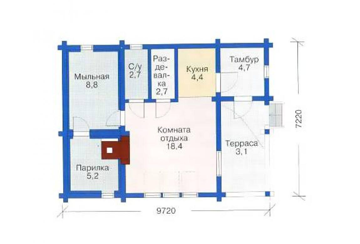 План N1 проекта бани АСД-1422