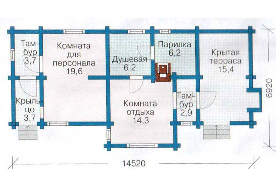 План N1 проекта бани АСД-1428