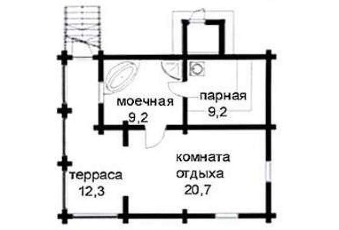 План N1 проекта бани АСД-1429