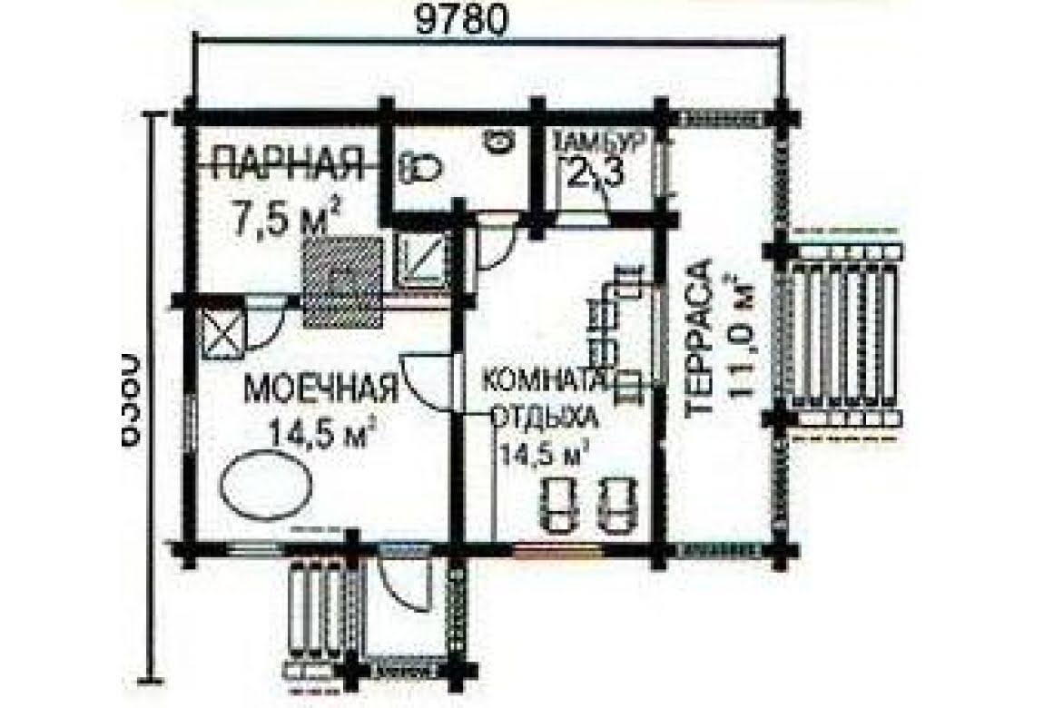 План N1 проекта бани АСД-1430
