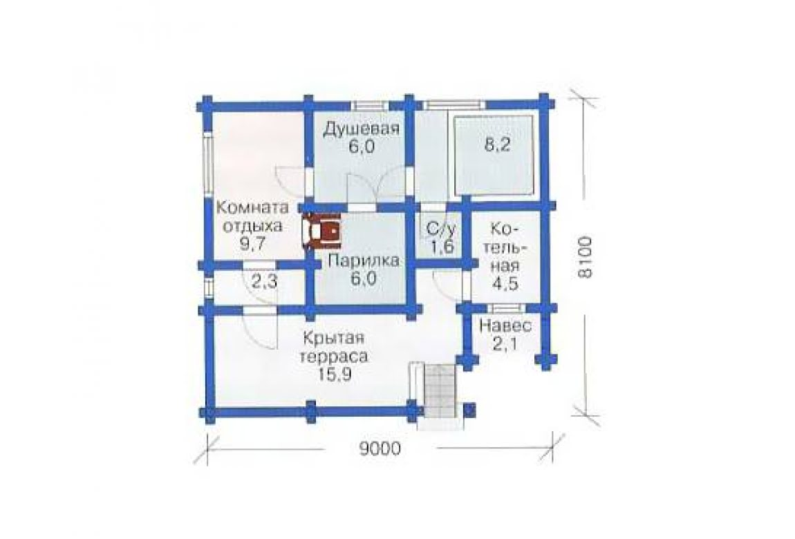 План N1 проекта бани АСД-1431