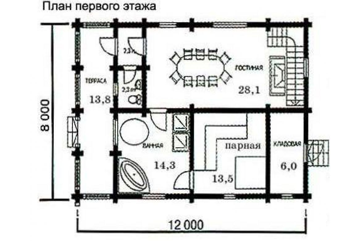 План N1 проекта бани АСД-1435