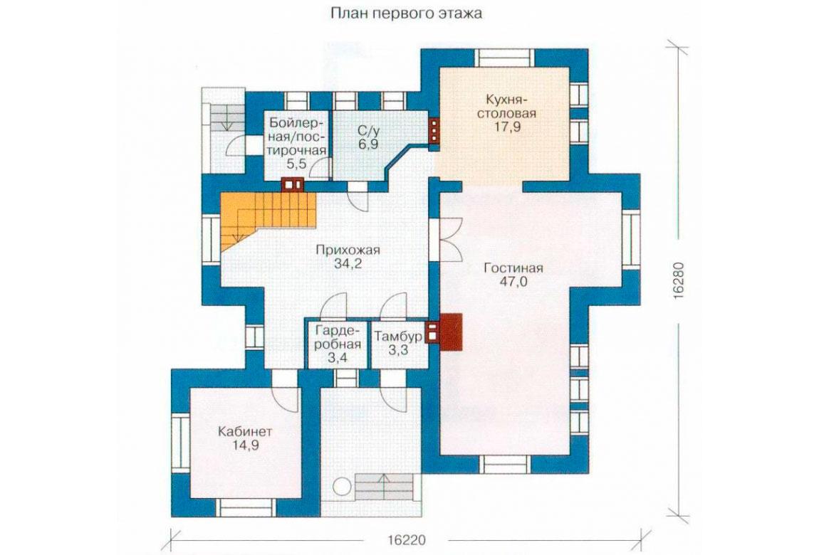 План N2 проекта кирпичного дома АСД-1044