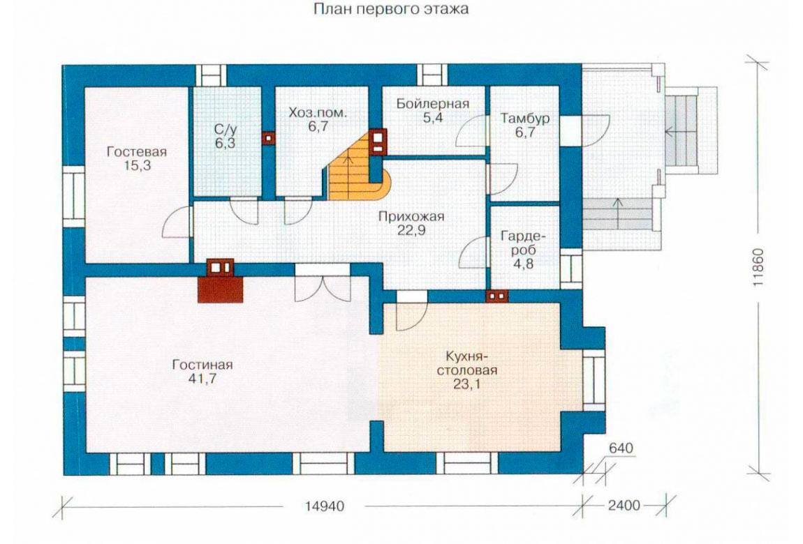 План N1 проекта кирпичного дома АСД-1045