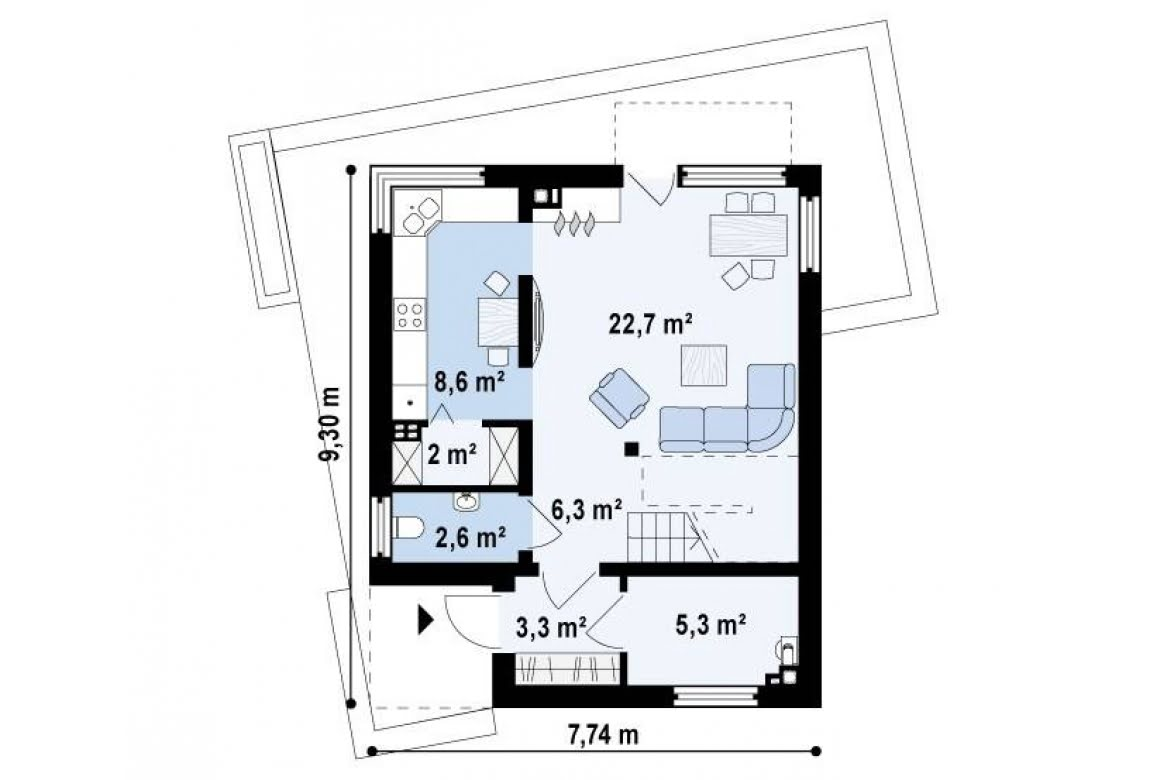 План N1 проекта дома из блоков АСД-Кьюб