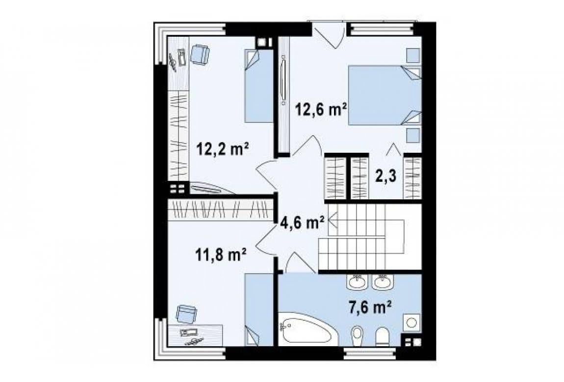 План N2 проекта дома из блоков АСД-Кьюб