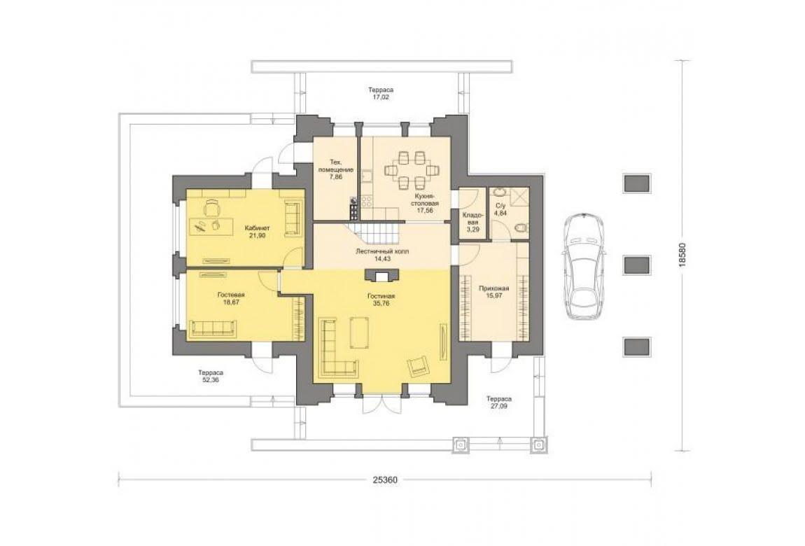 План N1 проекта кирпичного дома АСД-1458