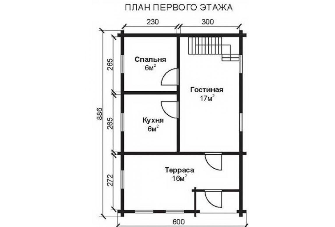 План N1 проекта недорогого дома АСД-1464