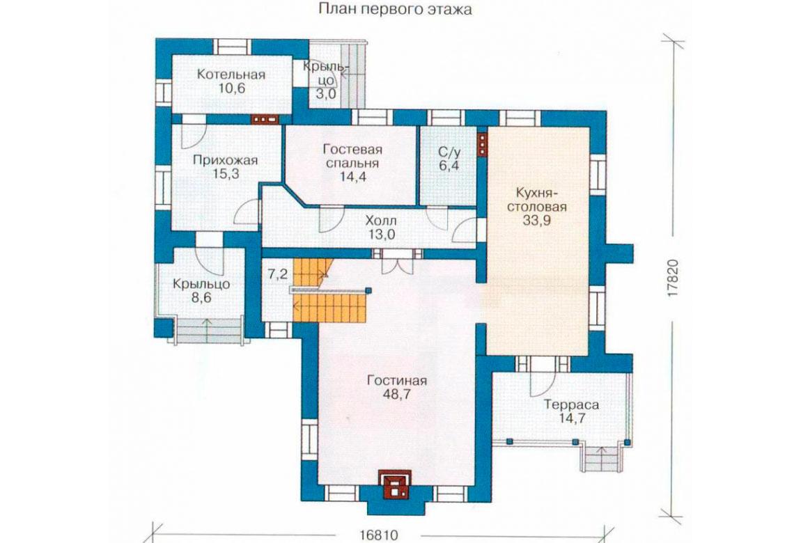 План N1 проекта кирпичного дома АСД-1047