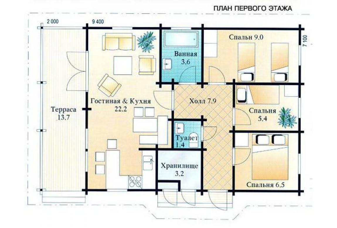 План N1 проекта недорогого дома АСД-1470