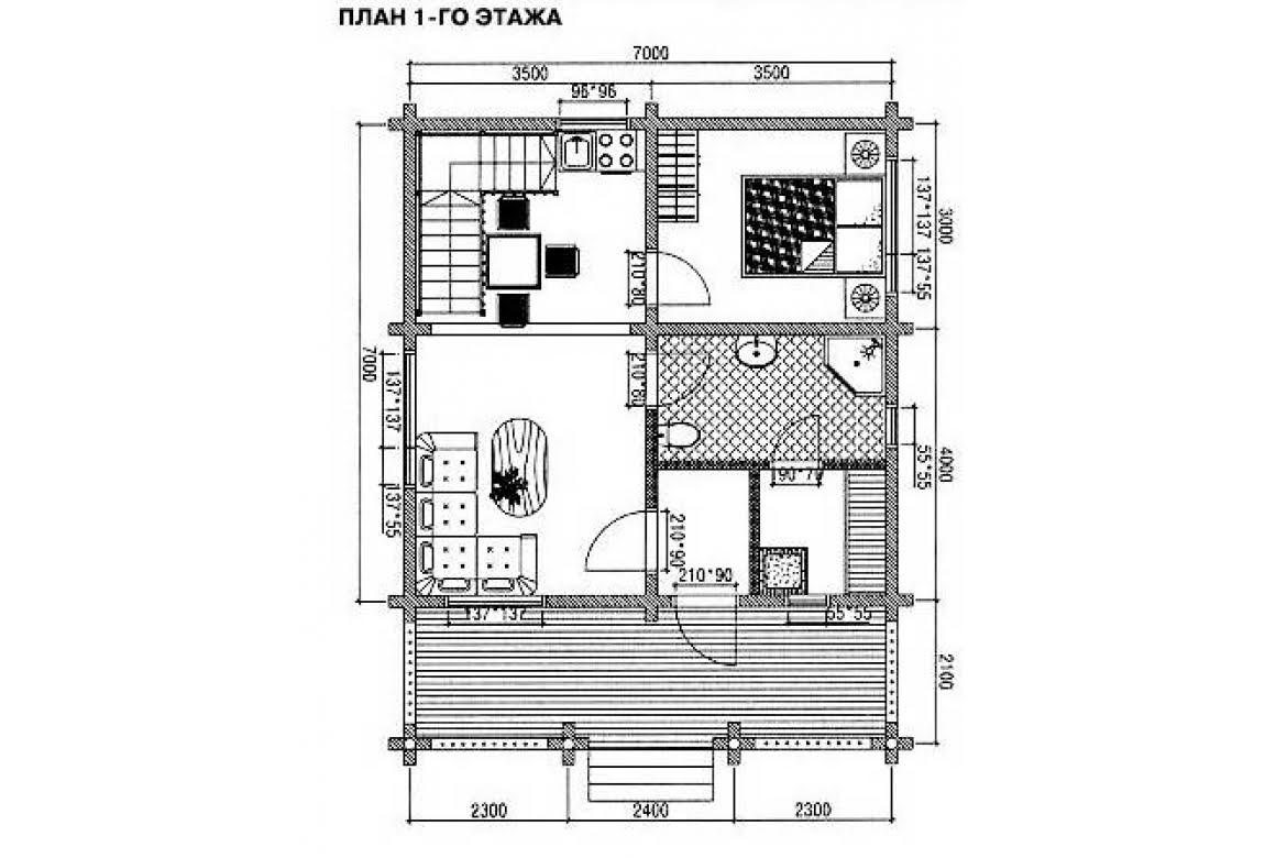 План N1 проекта дома из бревна АСД-1471