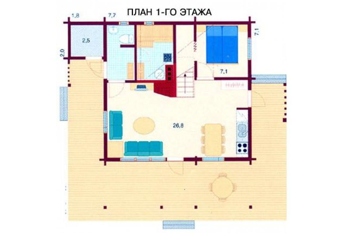 План N1 проекта дома из бревна АСД-1472