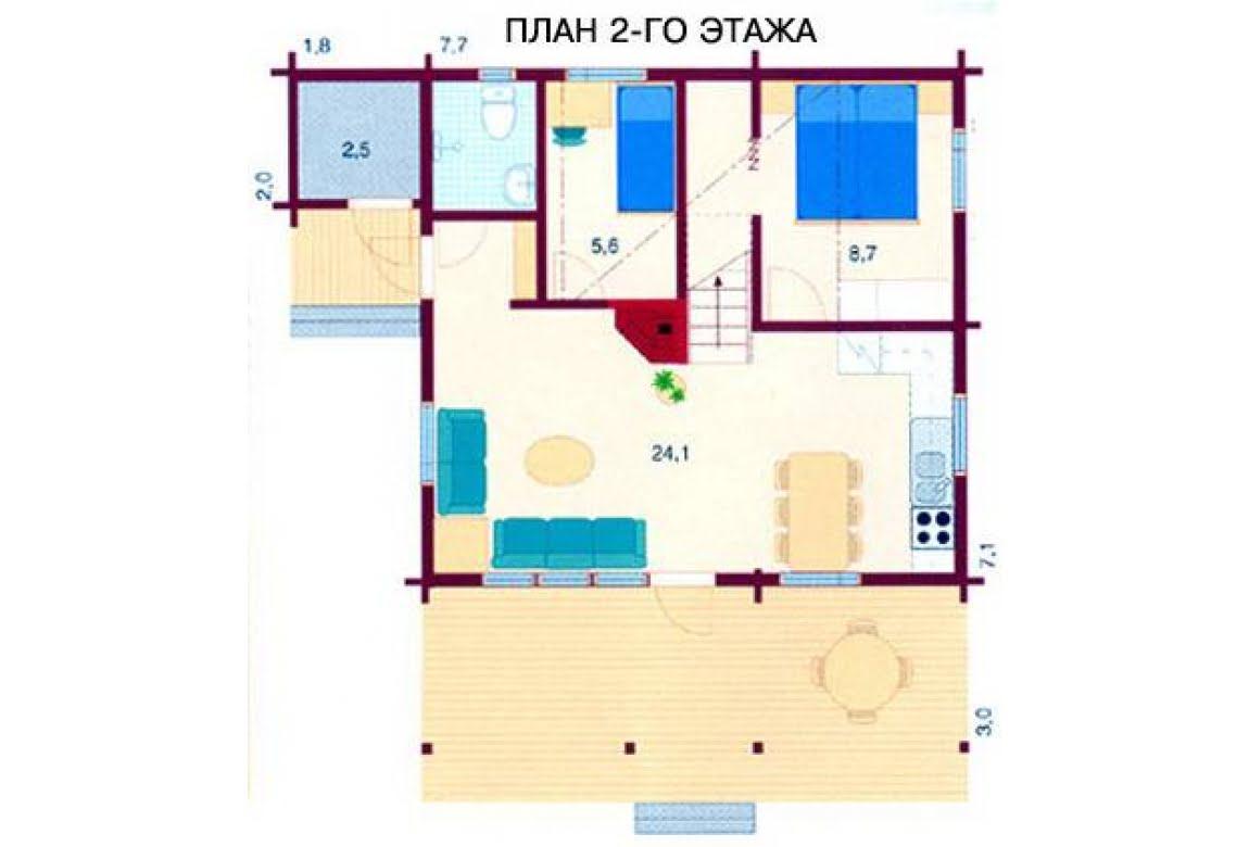 План N2 проекта дома из бревна АСД-1472