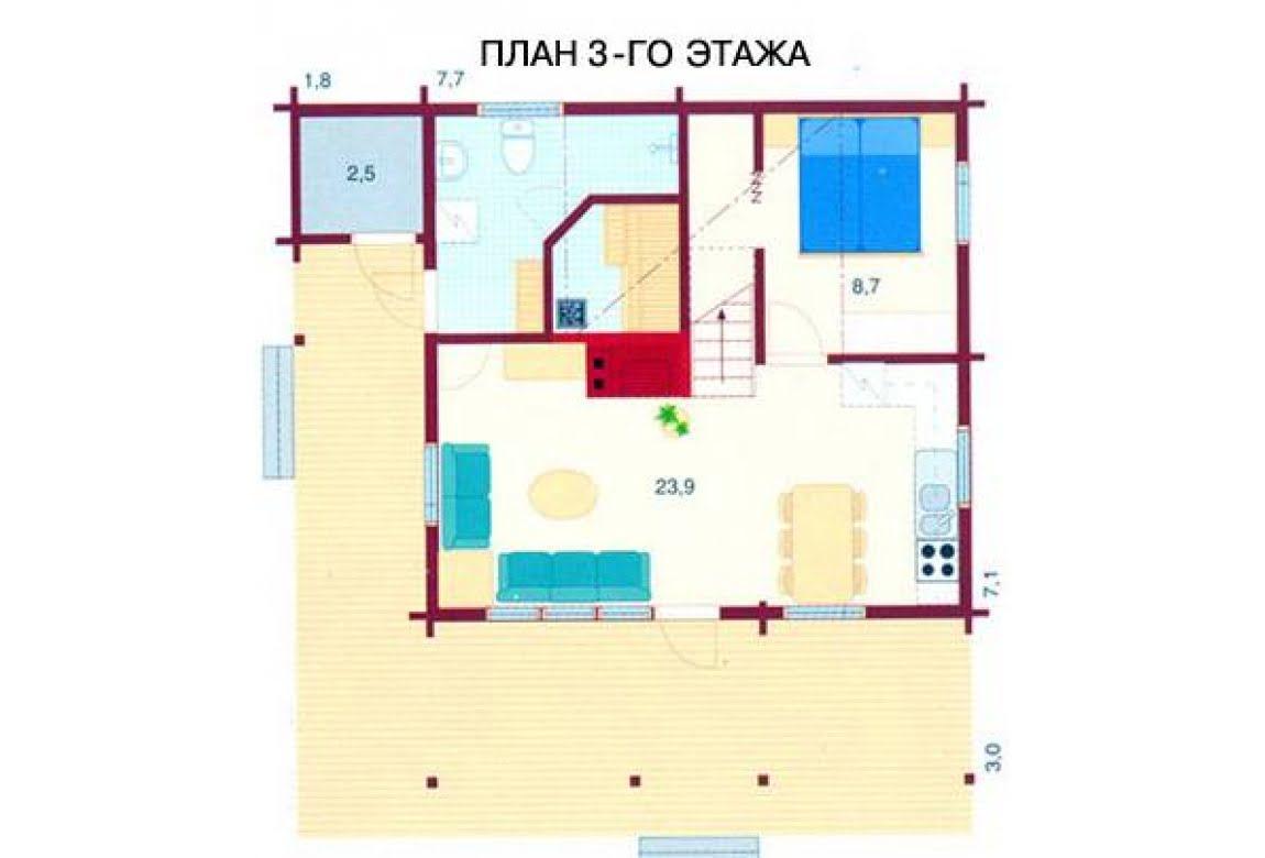 План N3 проекта дома из бревна АСД-1472