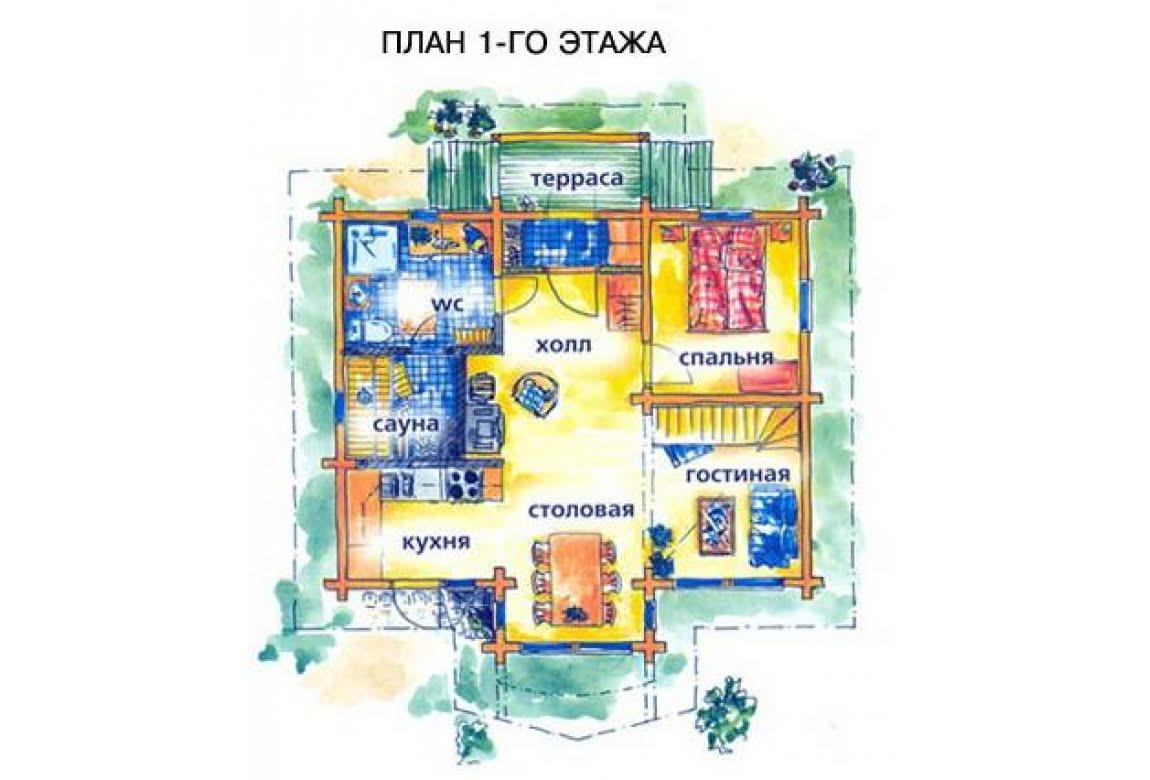 План N1 проекта дома из клееного бруса АСД-1474