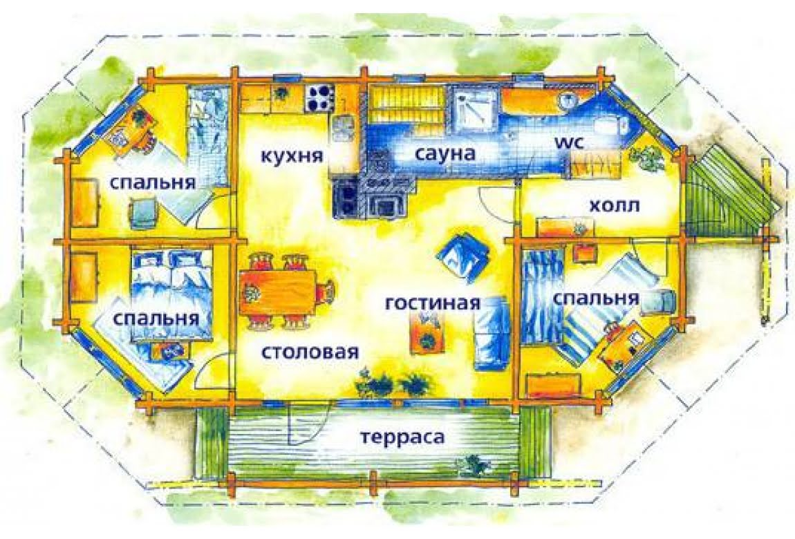 План N1 проекта дома из клееного бруса АСД-1475