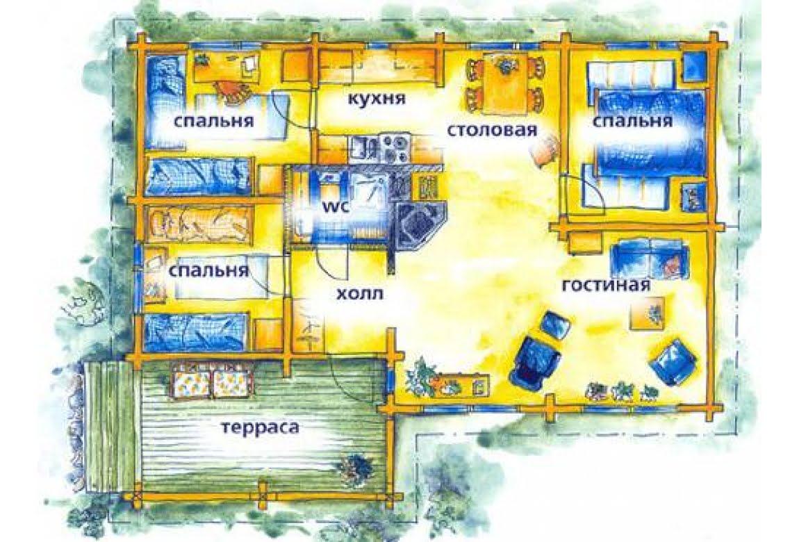 План N1 проекта дома из клееного бруса АСД-1476