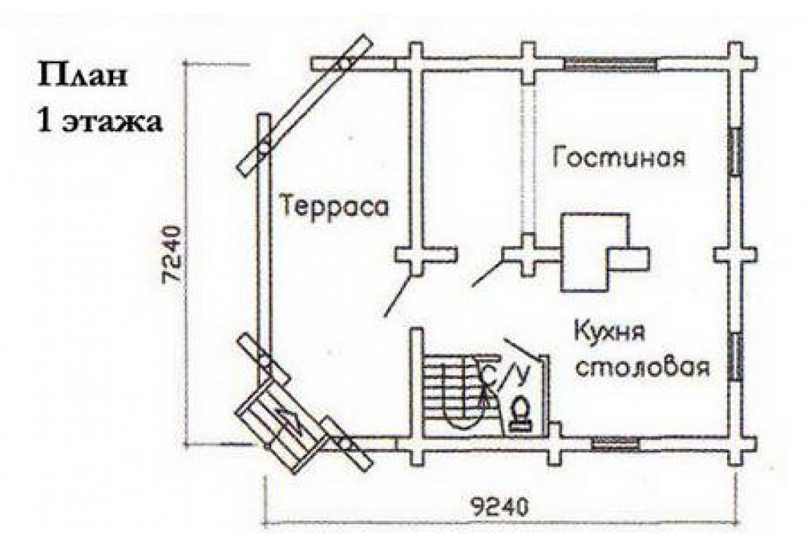 План N1 проекта дома из бревна АСД-1478