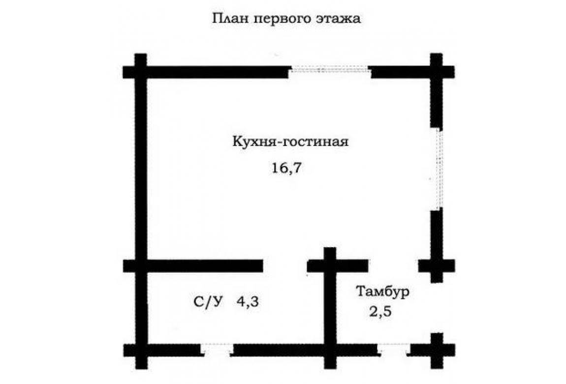 План N1 проекта дома из бревна АСД-1479