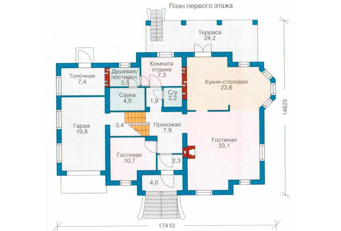 План N1 проекта кирпичного дома АСД-1048