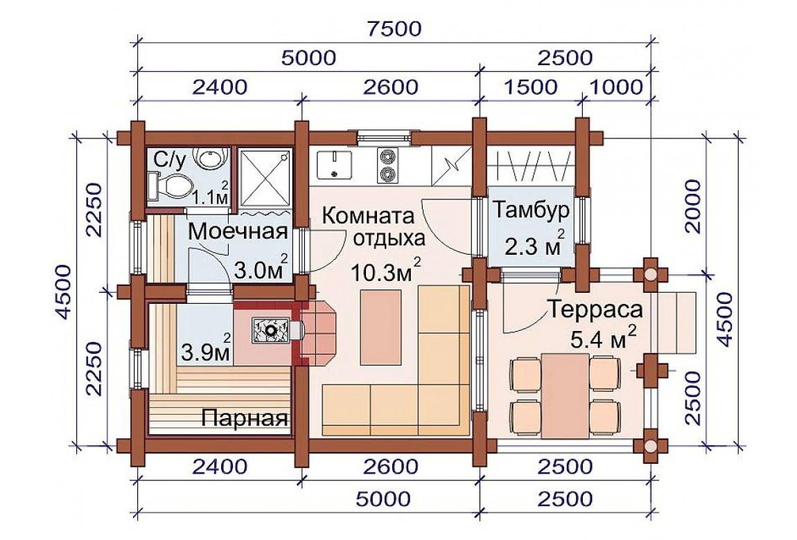 План N1 проекта бани АСД-1481