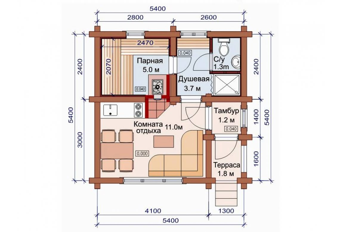 План N1 проекта бани АСД-1483