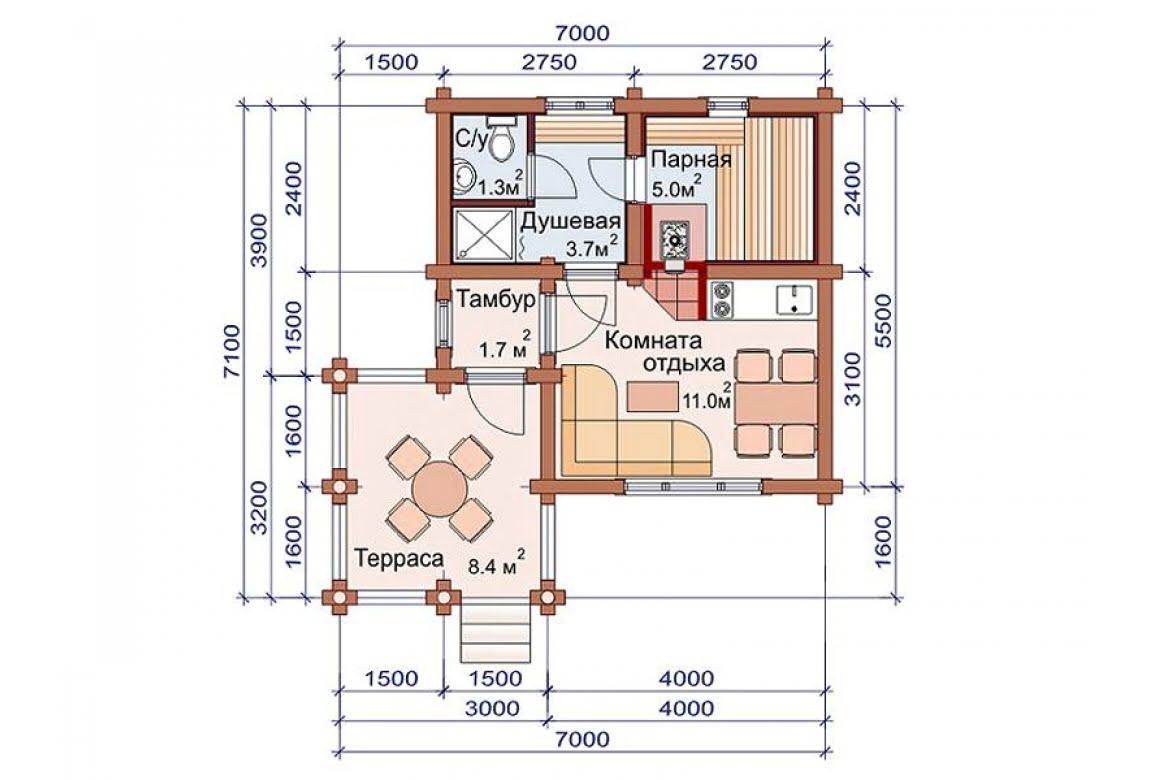 План N1 проекта бани АСД-1484