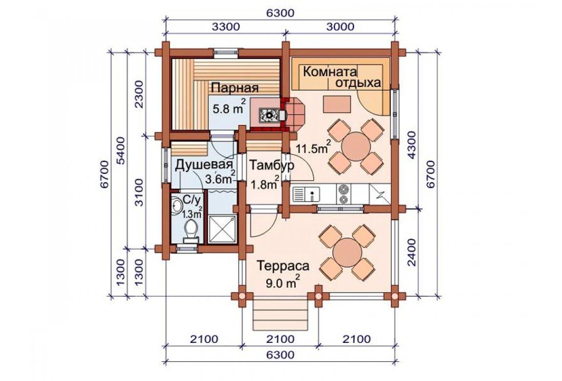 План N1 проекта бани АСД-1485