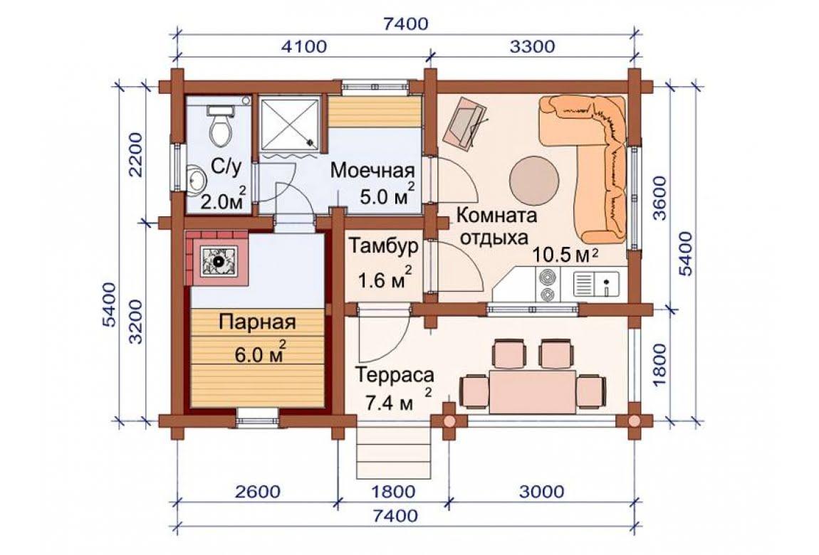 План N1 проекта бани АСД-1486