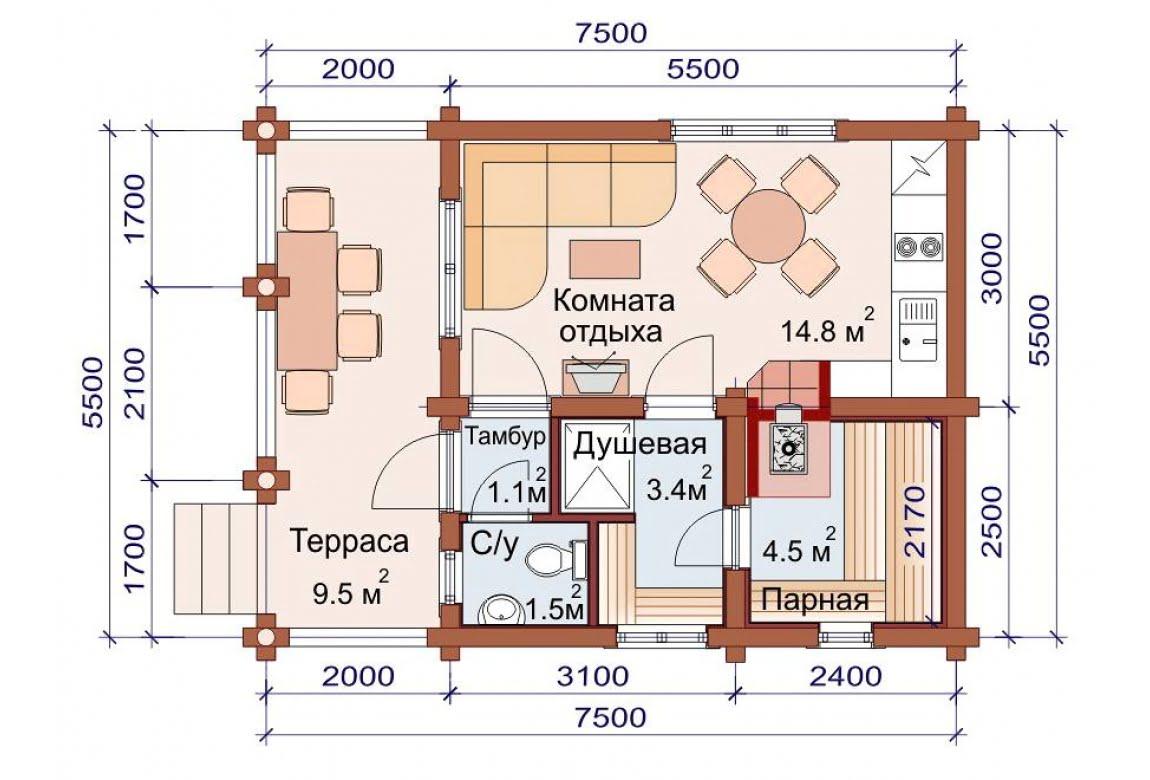 План N1 проекта бани АСД-1487