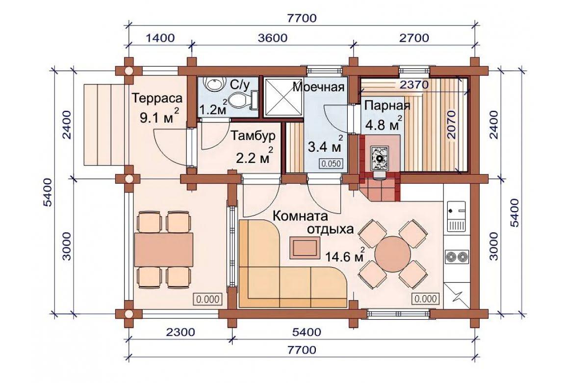 План N1 проекта бани АСД-1488