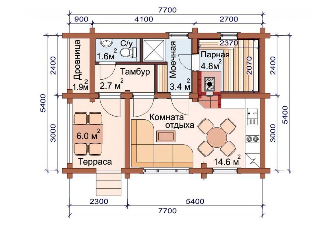 План N1 проекта бани АСД-1489