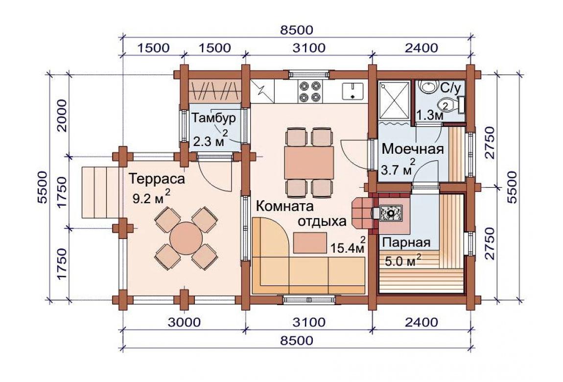 План N1 проекта бани АСД-1490