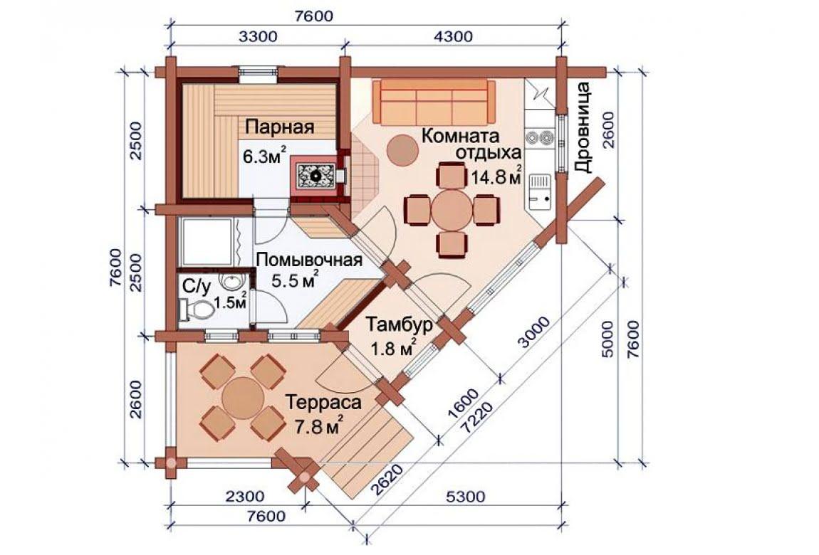 План N1 проекта бани АСД-1491