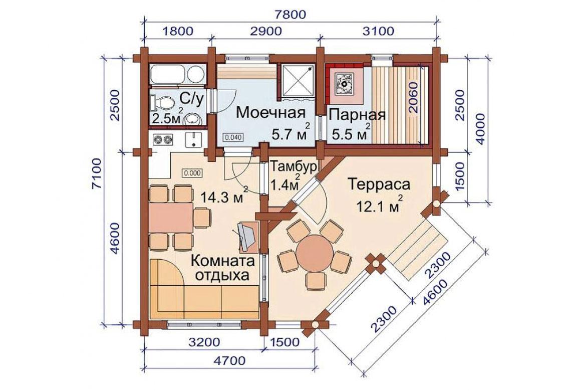 План N1 проекта бани АСД-1492