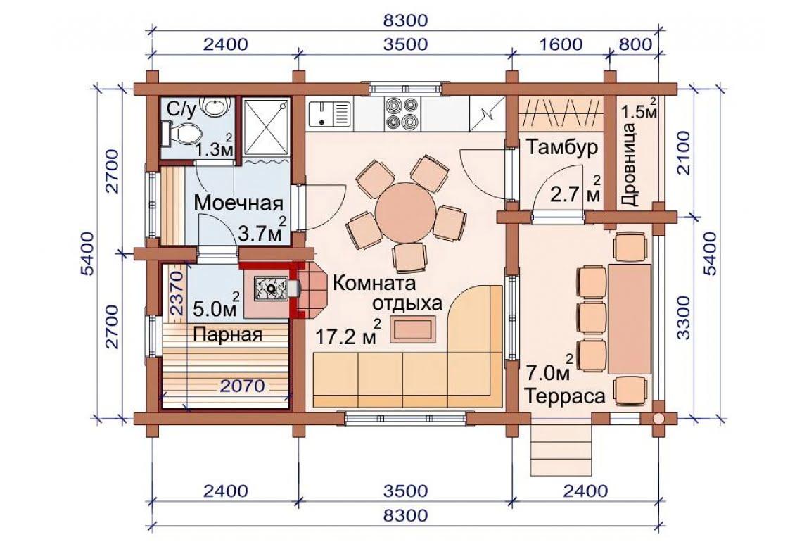 План N1 проекта бани АСД-1493