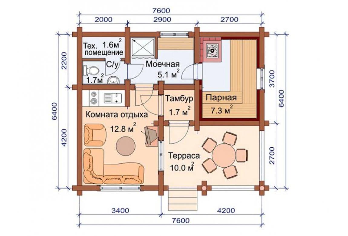 План N1 проекта бани АСД-1494