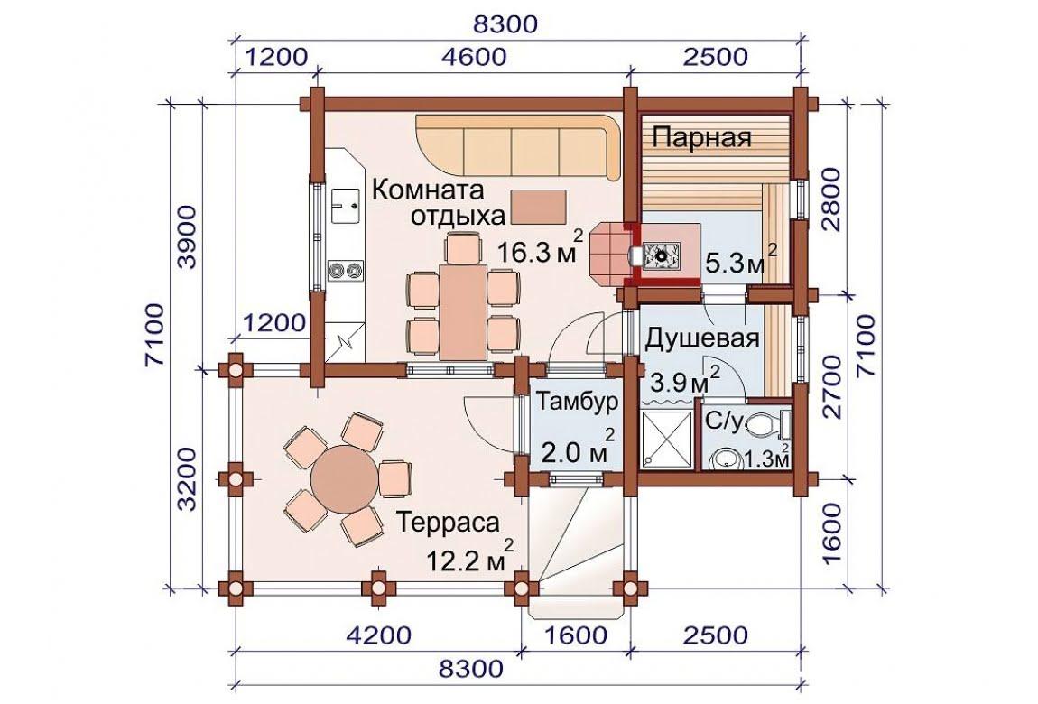 План N1 проекта бани АСД-1496