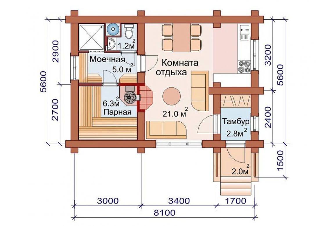 План N1 проекта бани АСД-1498