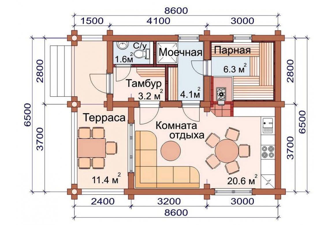 План N1 проекта бани АСД-1499