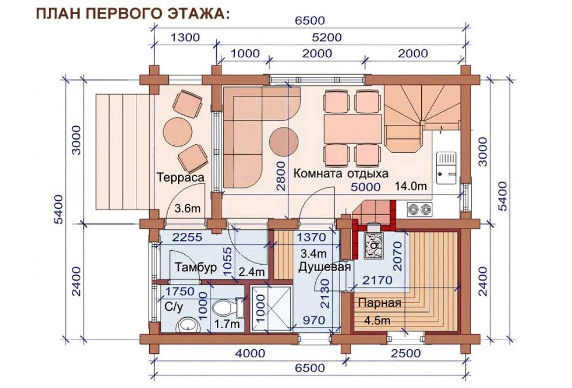 План N1 проекта бани АСД-1505