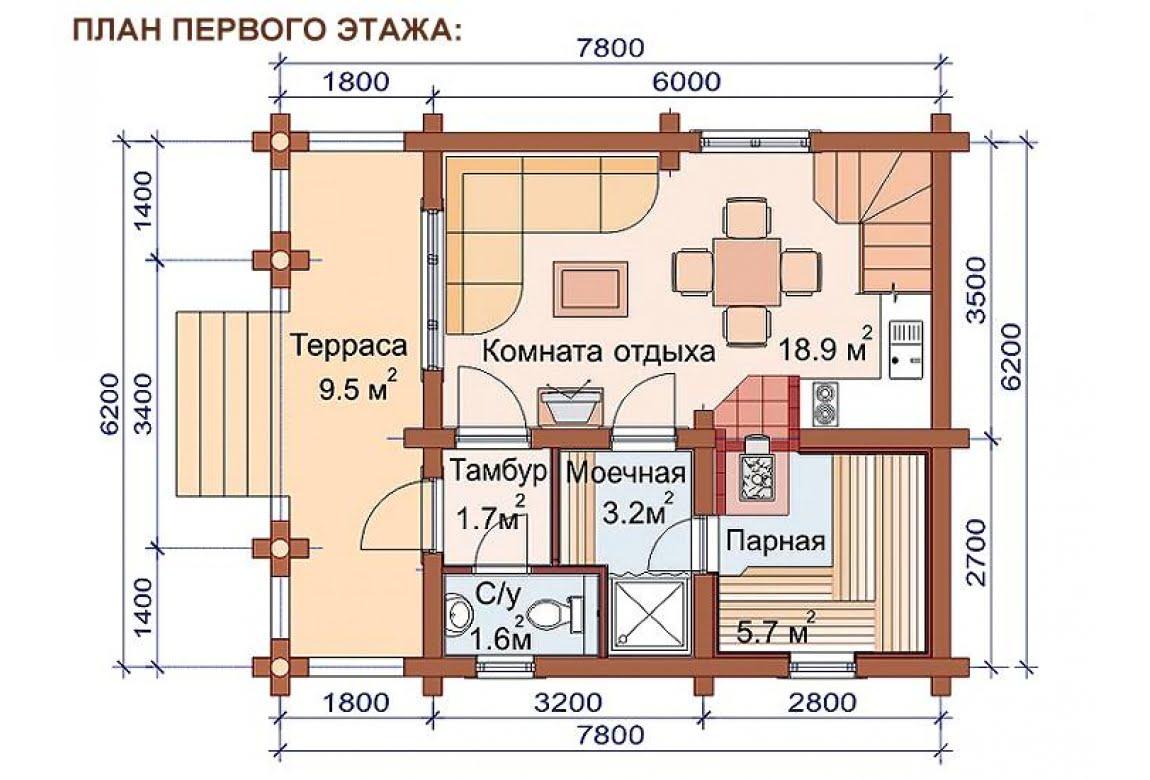 План N1 проекта бани АСД-1506
