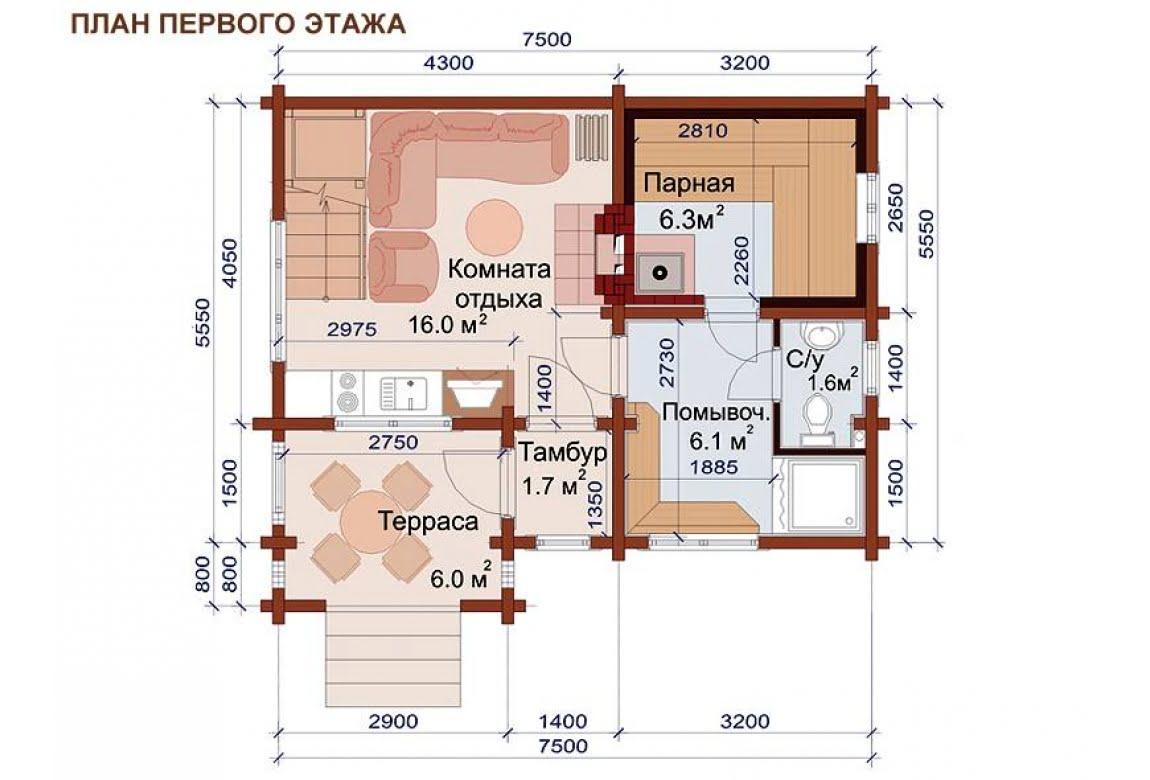 План N1 проекта бани АСД-1509